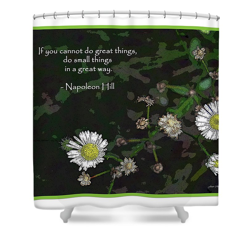 Botanical Shower Curtain featuring the digital art Floral Great Way Quote by Joan Minchak