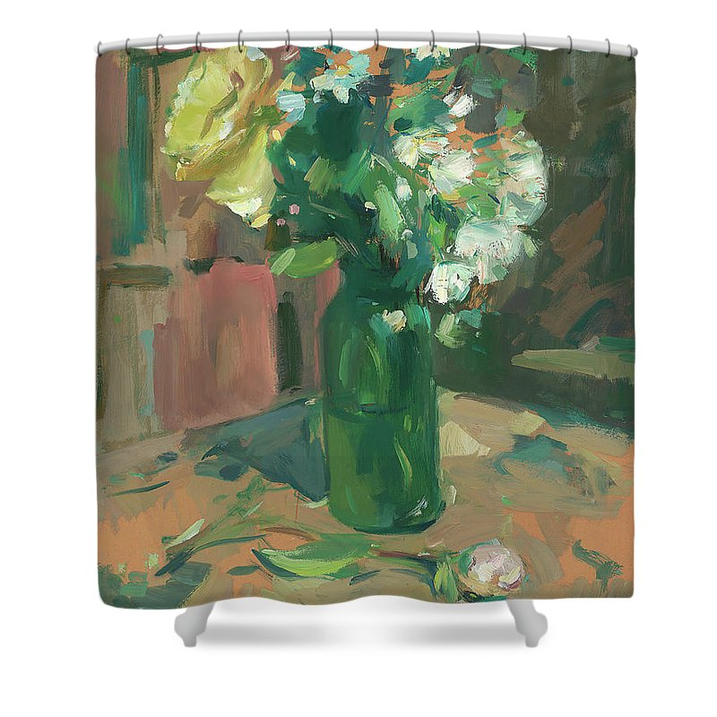 Mike Kirschel Shower Curtain featuring the painting Floral Green Vase by Mike Kirschel