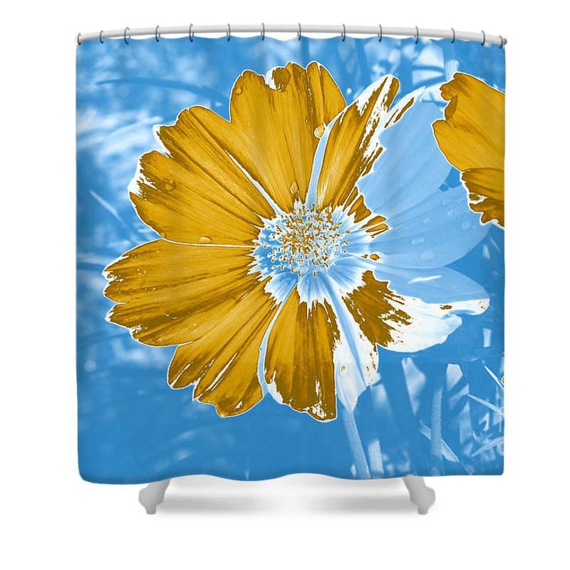 Floral Shower Curtain featuring the mixed media Floral Impression by Teresa Zieba