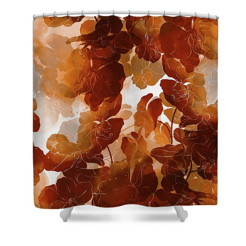 floral imprint in shades of rust and burnt orange shower curtain