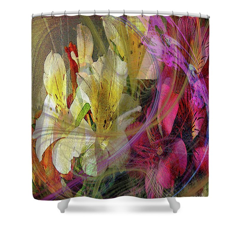 Floral Inspiration Shower Curtain featuring the digital art Floral Inspiration by John Beck