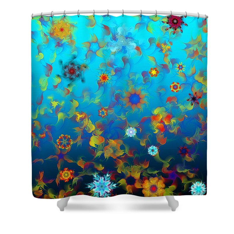 Floral Expressions Shower Curtain featuring the digital art Floral Madness 1 by David Lane