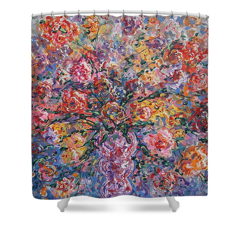 Painting Shower Curtain featuring the painting Floral Melody by Leonard Holland