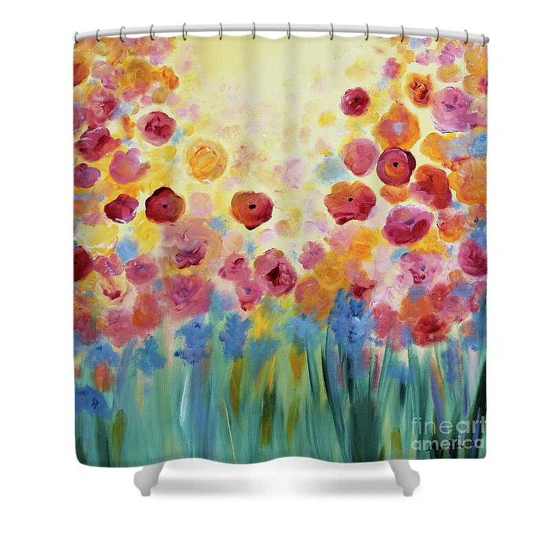 Flowers Shower Curtain featuring the painting Floral Splendor II by Stacey Zimmerman