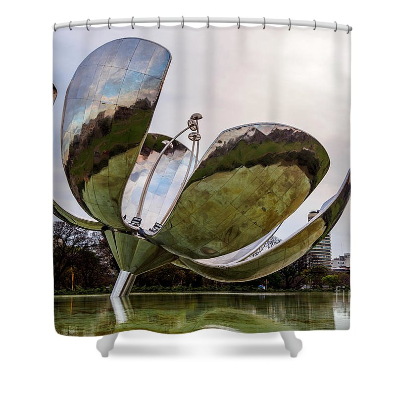 Argentina Shower Curtain featuring the photograph Floralis Generica, Buenos Aires, Argentina by Karol Kozlowski