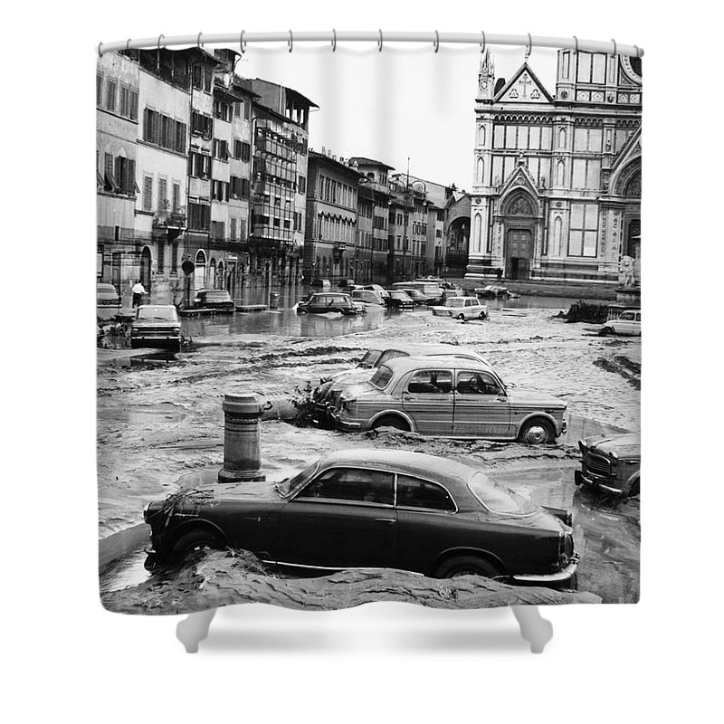 1966 Shower Curtain featuring the photograph Florence: Flood, 1966 by Granger