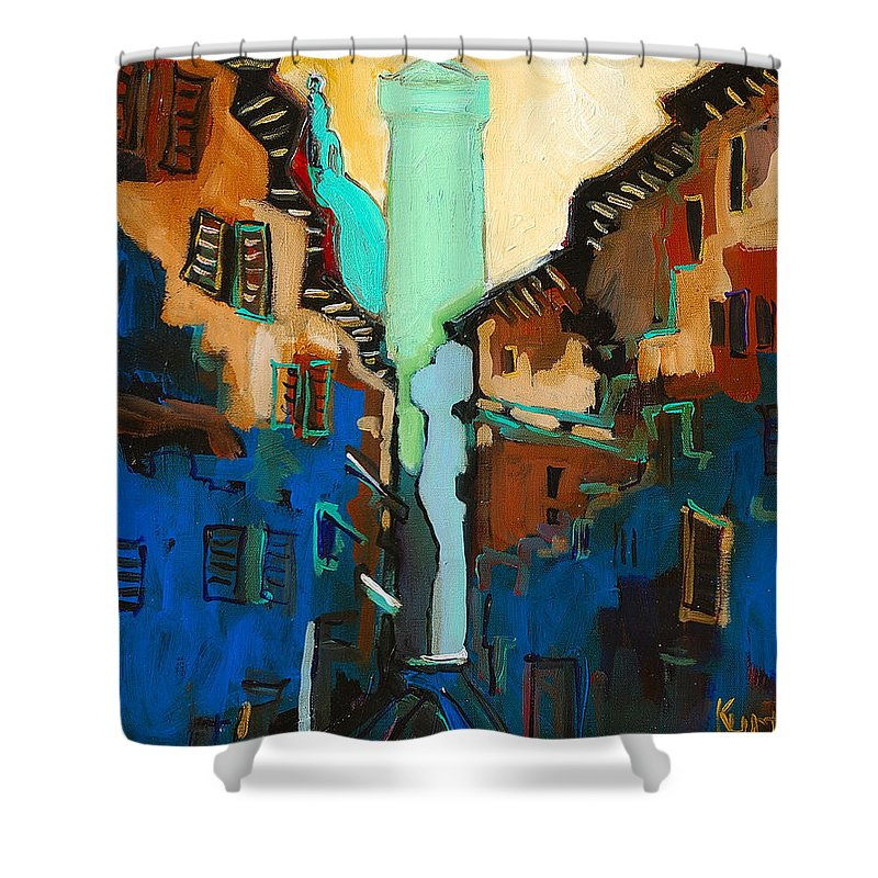 Florence Shower Curtain featuring the painting Florence Street Study by Kurt Hausmann