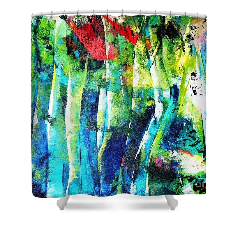 Brazilian Amazonian Forest Shower Curtain featuring the painting Floresta Amazonica by Fernanda Cruz
