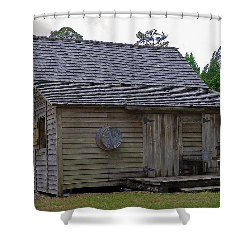 Cracker; Florida; Cabin; Rain; Light; Falls; 1900's; Farmer; Farm; Citrus; Oranges; Orlando; Mature; Shower Curtain featuring the photograph Florida Cracker Cabin Circa 1900 by Allan Hughes