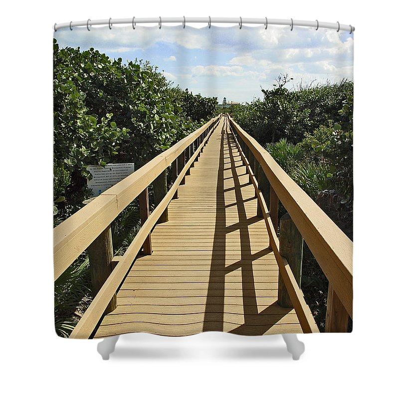 Sand Shower Curtain featuring the photograph Florida Dune Walk by Allan Hughes