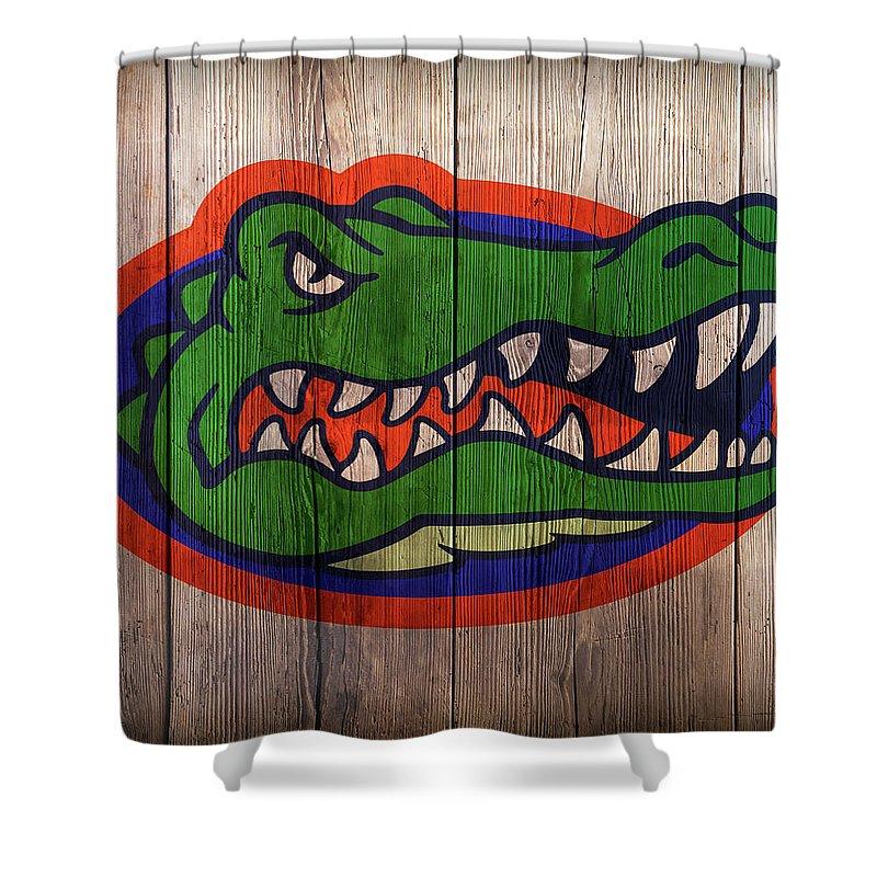 Florida Shower Curtain Featuring The Digital Art Gators Logo On Barnwood By Daniel Hagerman