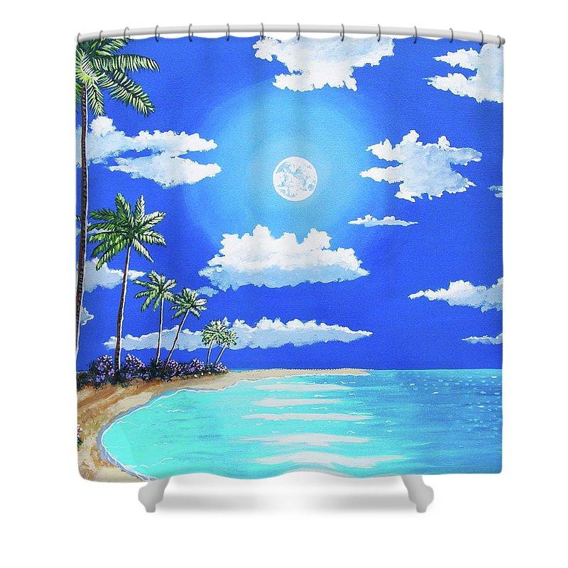 John Moon Shower Curtain featuring the painting Florida Keys Moon Rise by John Moon