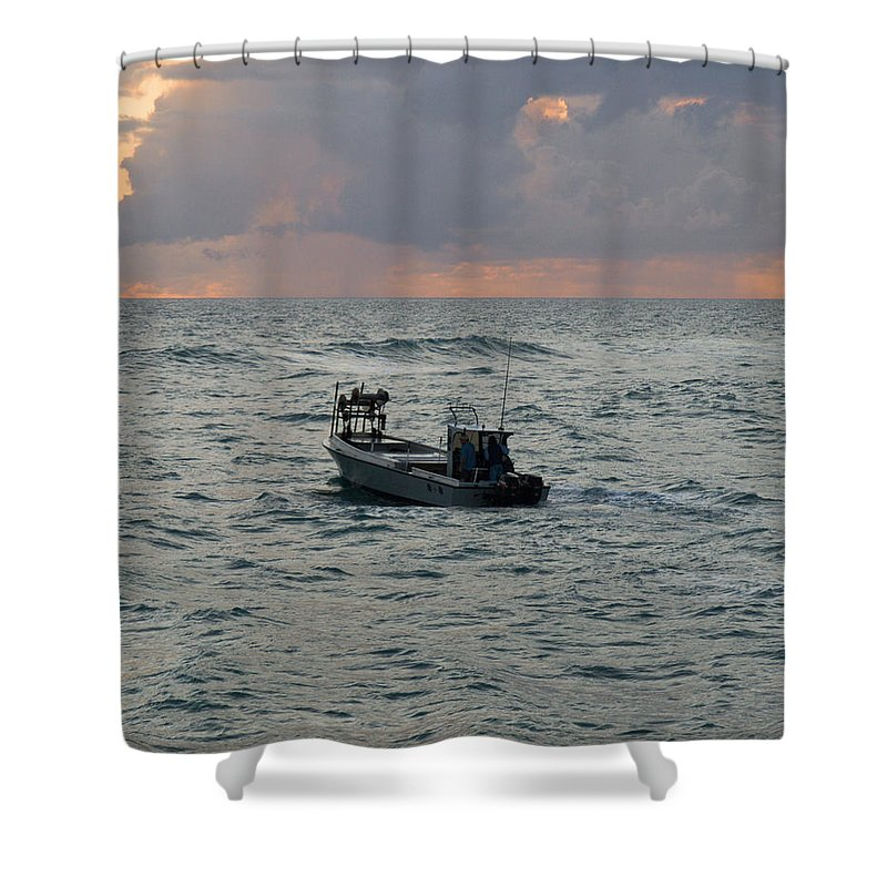 Florida; Lobster; Lobstermen; Lobsterman; Boat; Trap; Catch; Haul; Traps; Sebastian; Inlet; Atlantic Shower Curtain featuring the photograph Florida Lobstermen At Dawn by Allan Hughes
