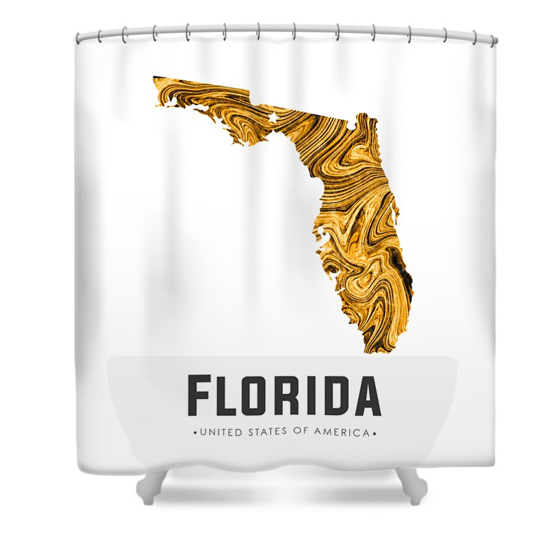 Florida Shower Curtain Featuring The Mixed Media Map Art Abstract In Yellow Gold By Studio