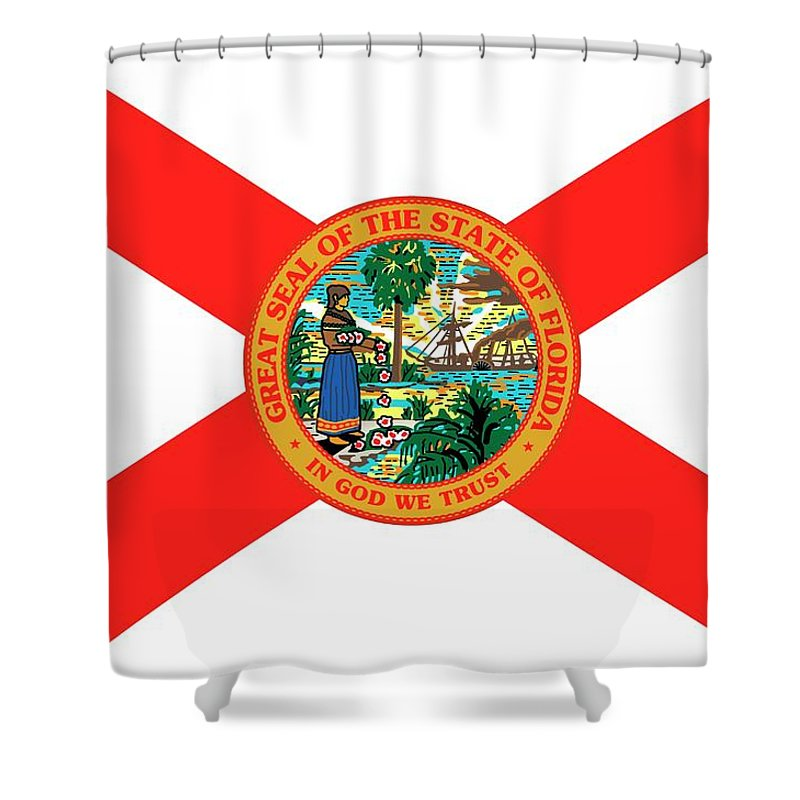 Fl Shower Curtain Featuring The Painting Florida State Flag By American School