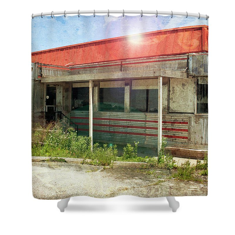 Flo Shower Curtain featuring the photograph Flo's Roadside Diner by John Remy