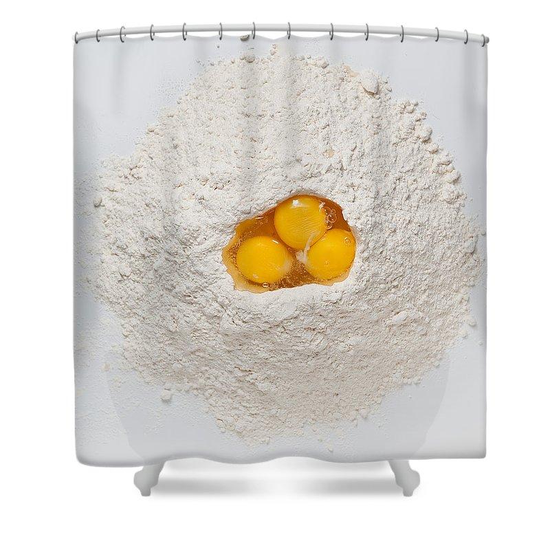Flour Shower Curtain featuring the photograph Flour And Eggs by Steve Gadomski