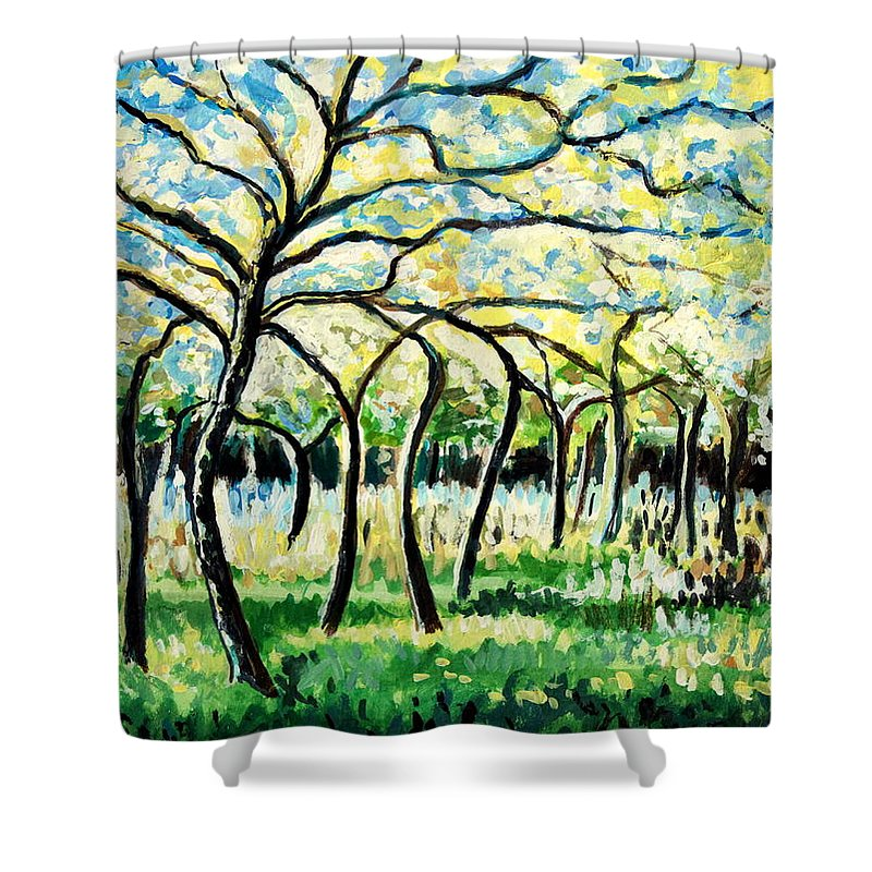 Tree Shower Curtain featuring the painting Flourish by Elizabeth Robinette Tyndall