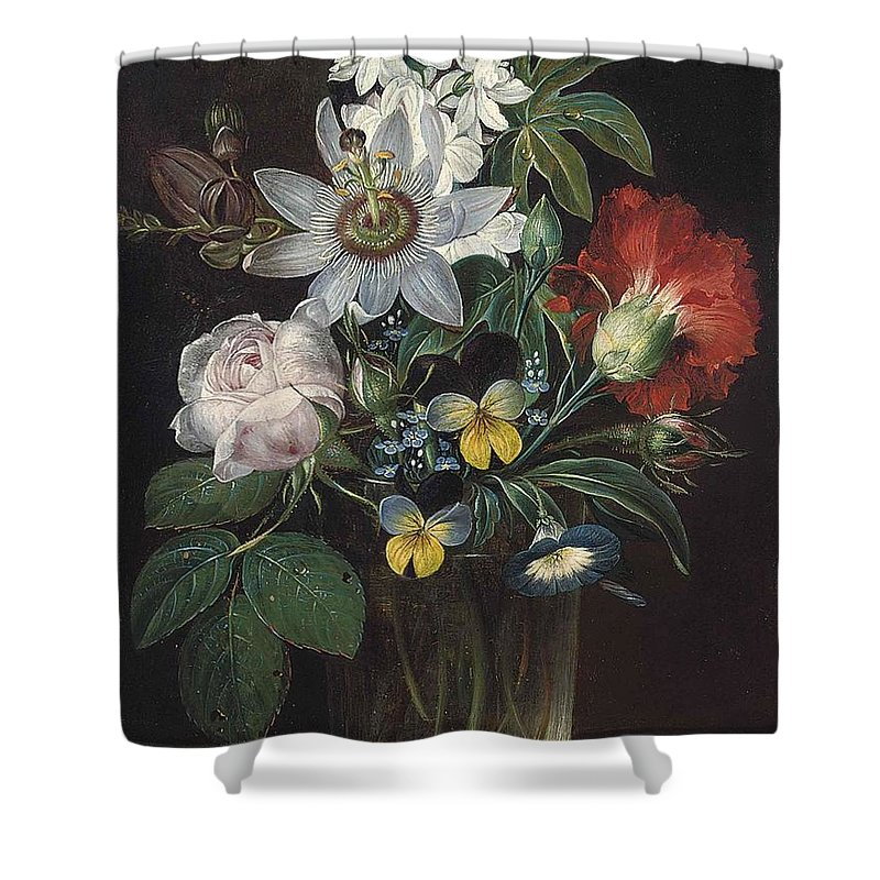Andreas Theodor Mattenheimer Shower Curtain featuring the painting Flower And A Delphinium In A Glass Vase by Theodor Mattenheimer