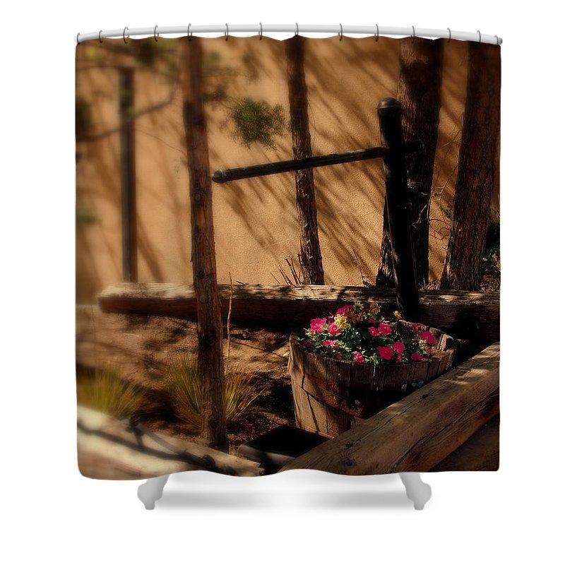 Flower Basket Shower Curtain featuring the photograph Flower Basket by Susanne Van Hulst
