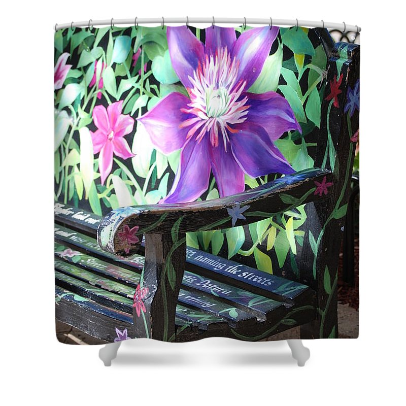 Macro Shower Curtain featuring the photograph Flower Bench by Rob Hans