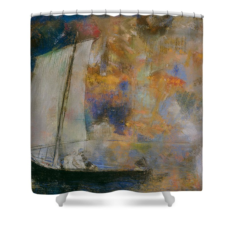 Odilon Redon Shower Curtain featuring the painting Flower Clouds by Odilon Redon