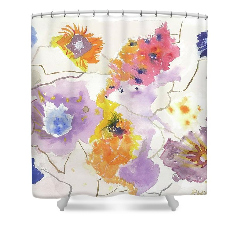 Flowers Shower Curtain featuring the painting Flower Connection by Philippa Jane Winkler