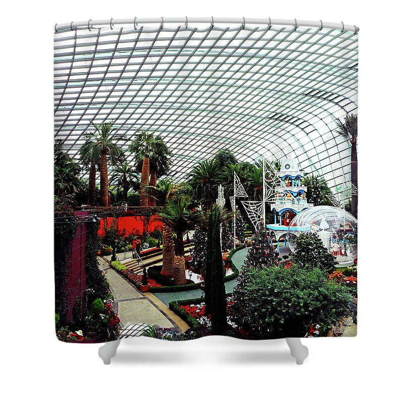 The Dooms Shower Curtain featuring the photograph Flower Dome 3 by Ron Kandt