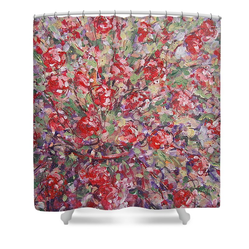 Painting Shower Curtain featuring the painting Flower Feelings. by Leonard Holland