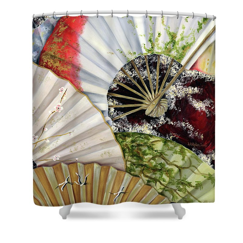 Japanese Shower Curtain featuring the painting Flower Garden by Hiroko Sakai