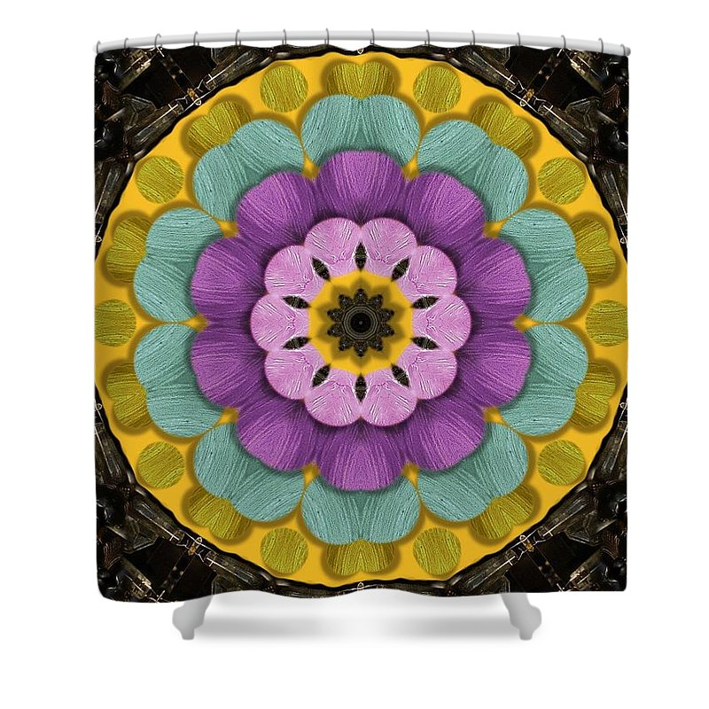 Flower Shower Curtain featuring the mixed media Flower In Paradise by Pepita Selles