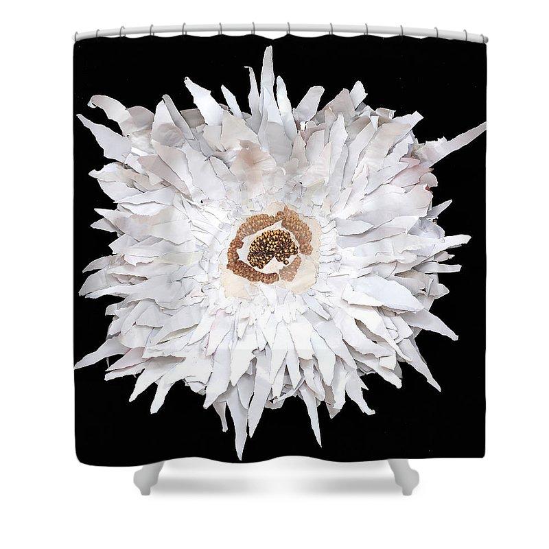 Flower Shower Curtain featuring the mixed media Flower by Jaime Becker