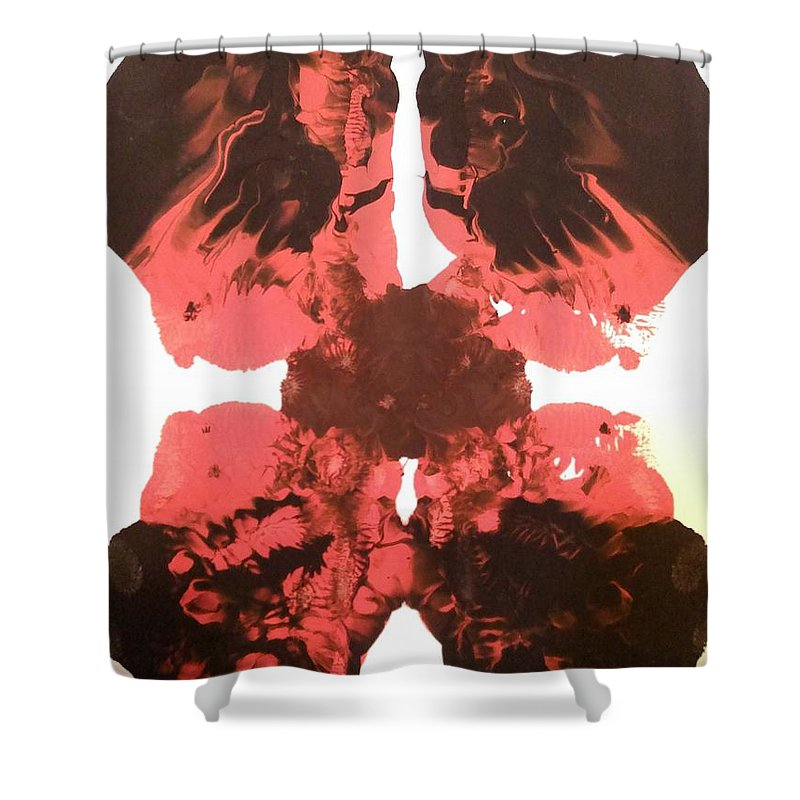 Red Shower Curtain featuring the painting Flower by Jessica Baker