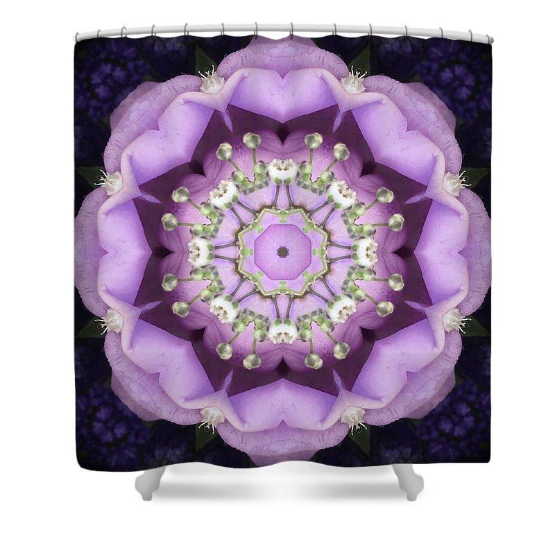 Art Shower Curtain featuring the digital art Flower Kaleidoscope 004 by Rene Wissink