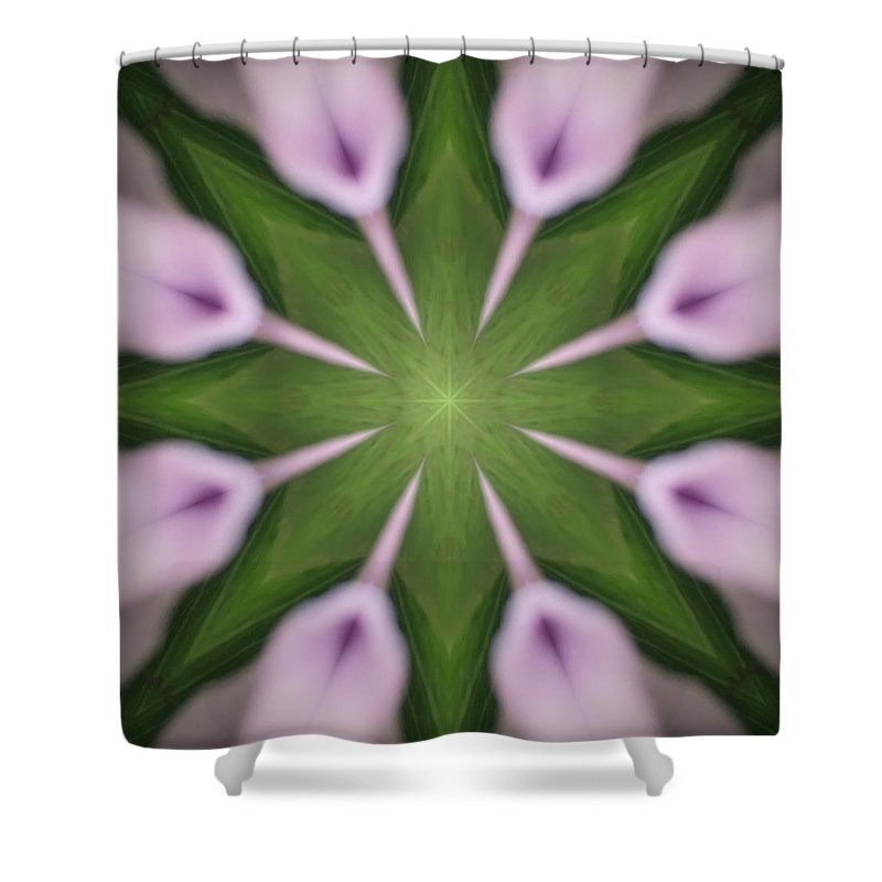 Art Shower Curtain featuring the digital art Flower Kaleidoscope_003 by Rene Wissink