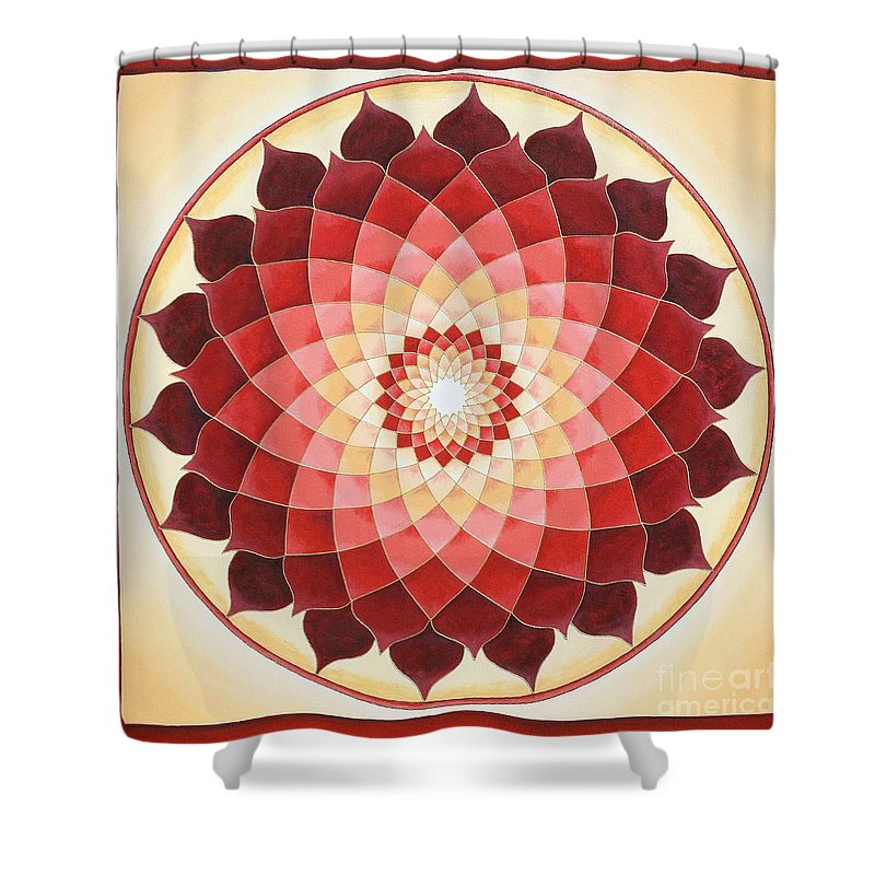 Mandala Shower Curtain featuring the painting Flower Of Life by Charlotte Backman