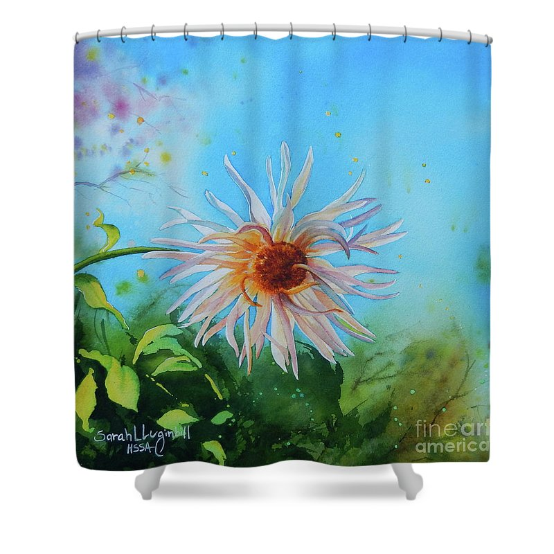 Flower Shower Curtain featuring the painting Flower Of Love by Sarah Luginbill