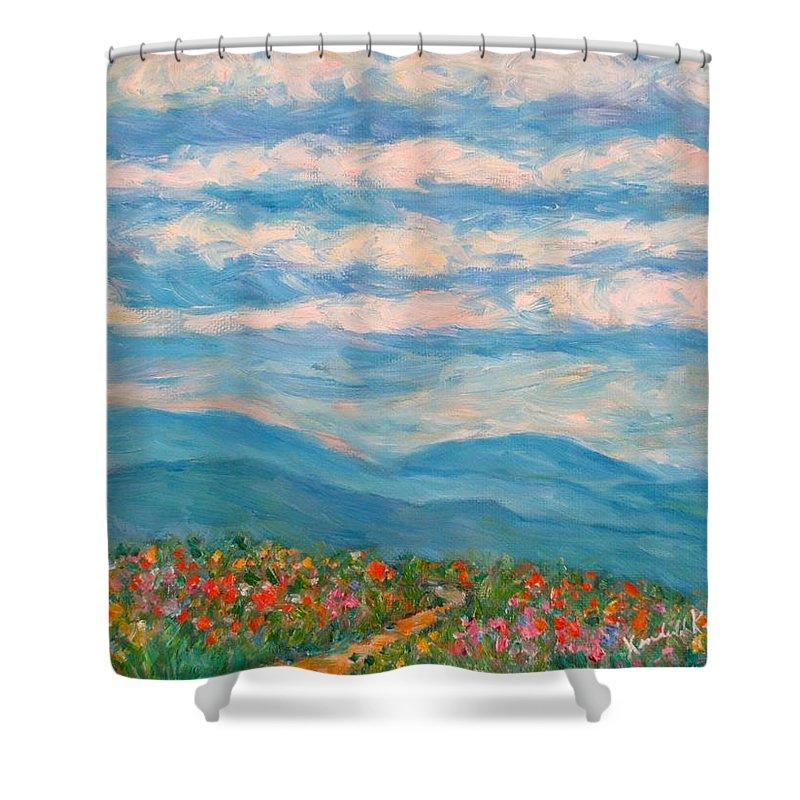 Blue Ridge Paintings Shower Curtain featuring the painting Flower Path To The Blue Ridge by Kendall Kessler