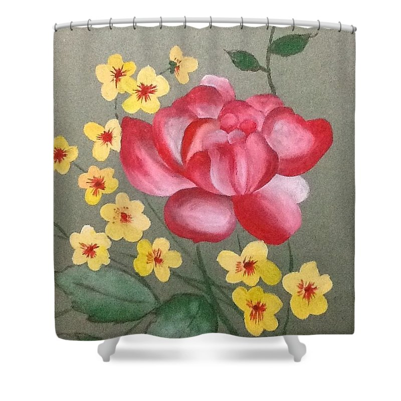 Beautiful Red Rose With Tiny Yellow Flower Shower Curtain featuring the painting Flower by Pushpa Sharma