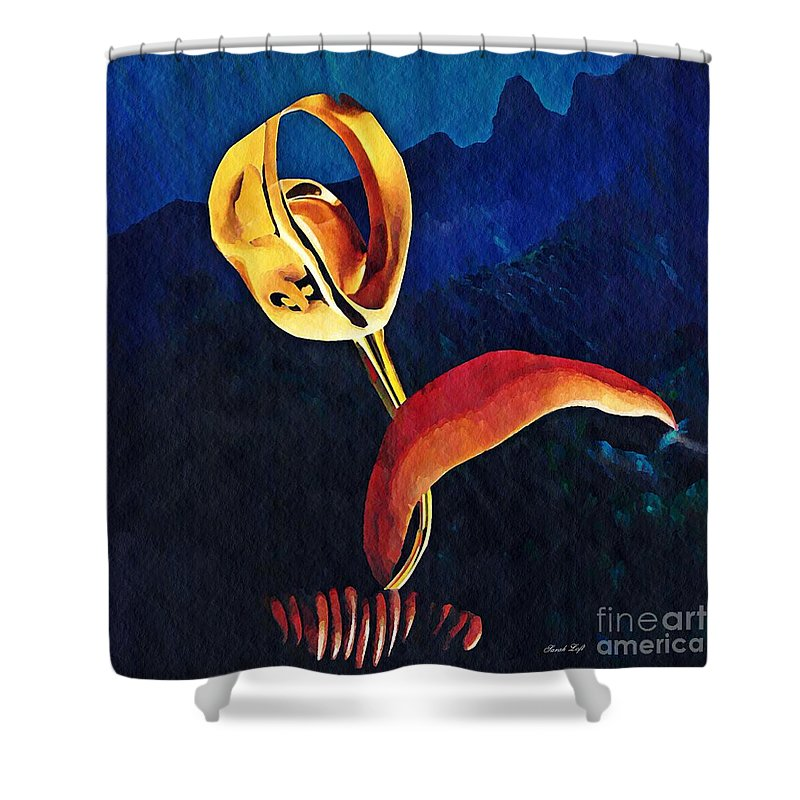 Floral Shower Curtain featuring the mixed media Flower Sculpture by Sarah Loft