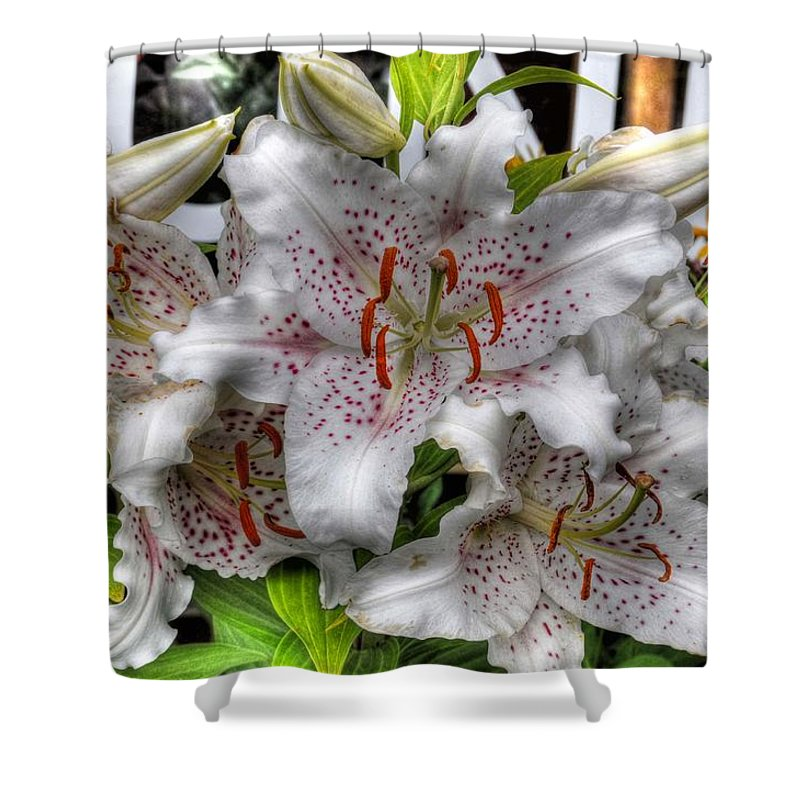 Chris Fleming Shower Curtain featuring the photograph Flower Shop Lillies by Chris Fleming