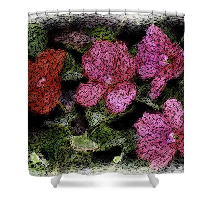 Digital Photograph Shower Curtain featuring the photograph Flower Sketch by David Lane