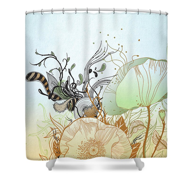 Floral Shower Curtain featuring the digital art Flower Sol by BONB Creative