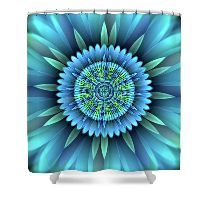 Flower Digitally-created Fractal Transparent Soft Petals Embroidery Flames Gas-flame Symmetrical Wall-hanging Decor Greeting-cards Home-decor Light-blue Purple Lime-green Shower Curtain featuring the digital art Flower Translucent 18 by Emily Colosimo