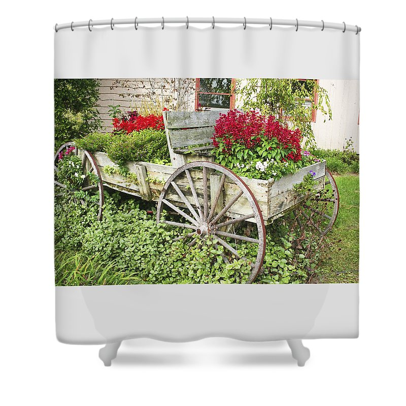 Wagon Shower Curtain featuring the photograph Flower Wagon by Margie Wildblood