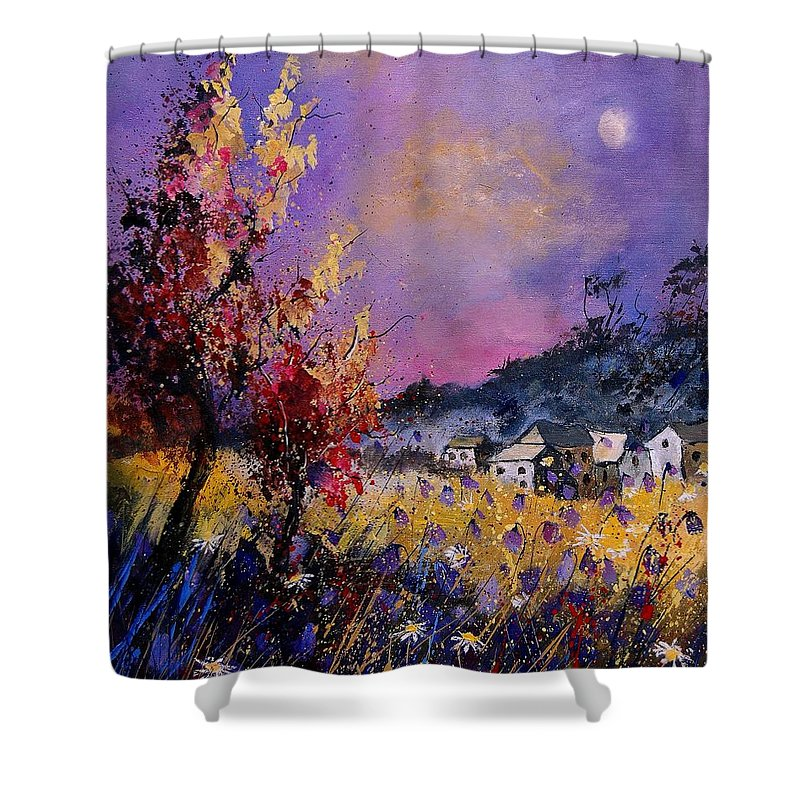 Shower Curtain featuring the painting Flowered Landscape 569070 by Pol Ledent