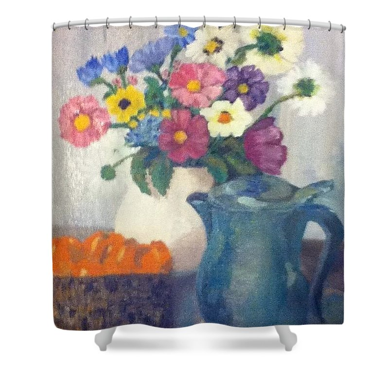 vintage Shower Curtain featuring the painting Flowered Love by Jennifer L Johnson