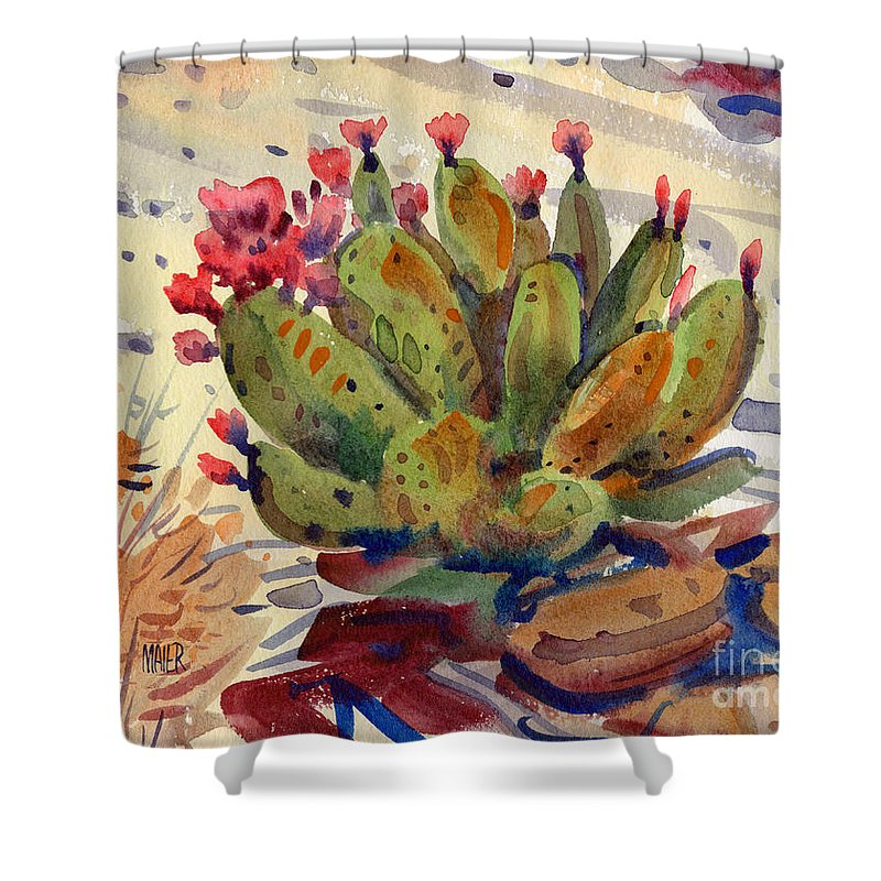 Opuntia Cactus Shower Curtain featuring the painting Flowering Opuntia by Donald Maier