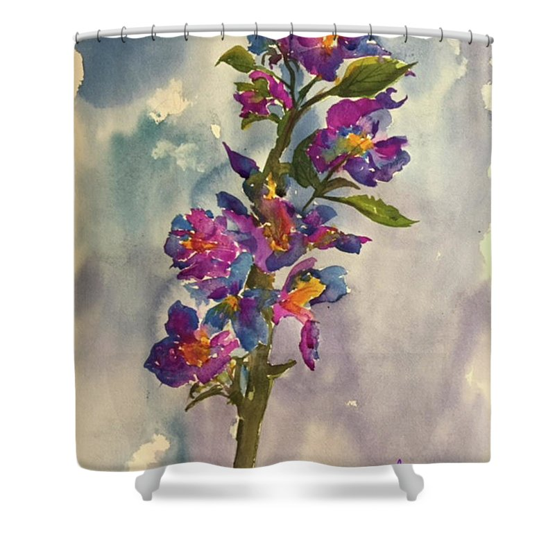 Floral Shower Curtain featuring the painting She Blooms by Bonny Butler