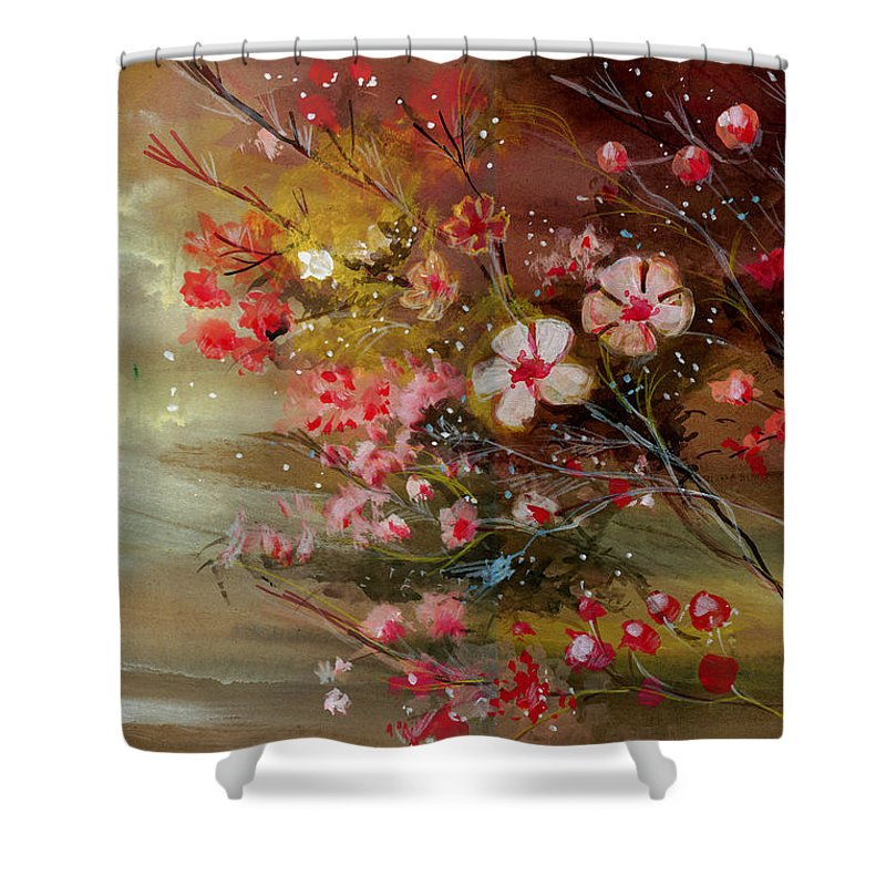 Nature Shower Curtain featuring the painting Flowers 2 by Anil Nene
